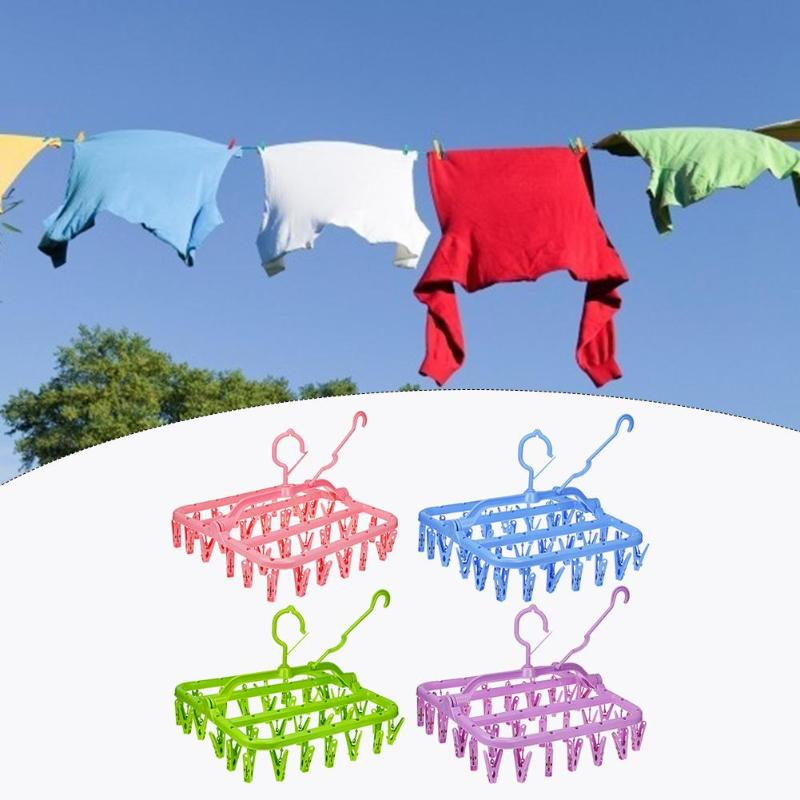 32 Clips Folding Portable Clothes Hanger Dryer Socks Underwear Drying Rack Windproof Children Dropshipping