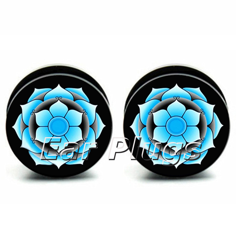 1 Pair blue lotus ear plug gauges tunnel acrylic screw flesh tunnel body piercing jewelry PAP0143
