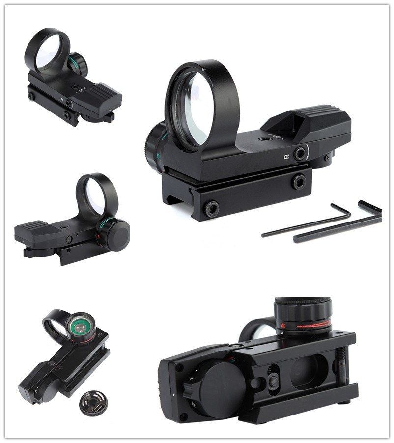 ФОТО Durable High Quality Tactical Hunting Holographic 4 Type Reticle 22mm Rail Geen Red Dot Reflex Sight Airsoft Hunting