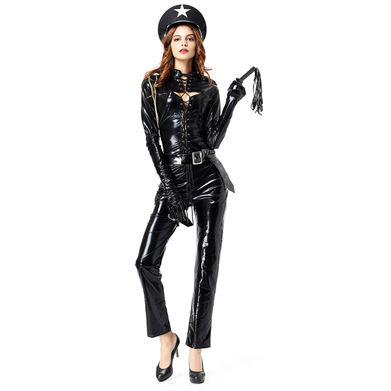 Sexy Police Women Costume Black PVC Leather Lace Up Cop Costumes Halloween Outfit Cosplay Adult Sexy Cop Costumes with Cap