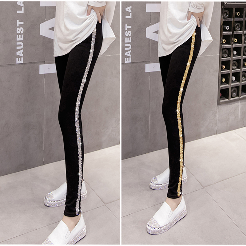 Plus Size Pants Women 2018 Spring Korean Style Side Sequins Cotton Black Thin Trousers Students Outwear All-match Basic Trousers
