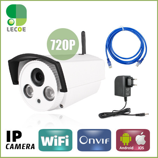720P Network IR Bullet Securiy CCTV WIFI IP camera, ONVIF 2.0, 3.6mm lens with ICR,Array LED 50M IR Range bullet camera tube camera headset holder with varied size in diameter