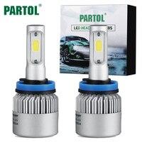 Partol 72W 8000LM H4 H7 H11 H13 9005 9006 COB LED Headlight Bulbs All In One
