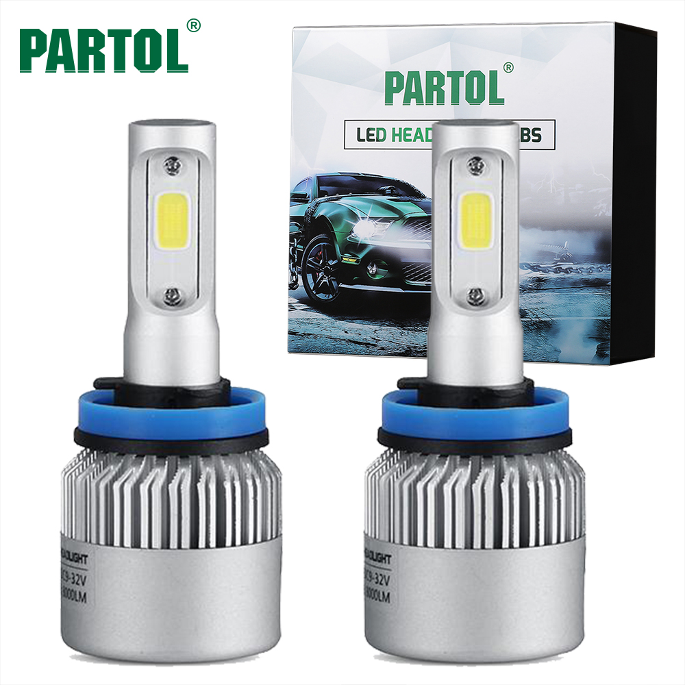S2 Partol 72W 8000LM H11 COB LED Headlight Bulbs Car LED H4 H7 H1 Headlights Conversion Kit 9005 9006 Automobile Fog Lamp 6500K