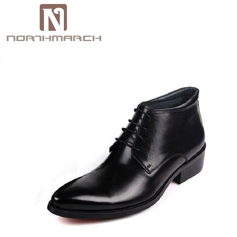 NORTHMARCH High Top Pointed Toe Oxford Business Dress Patent Leather Wedding Shoes Men Boots Autumn Winter Rubber Bottom Derby