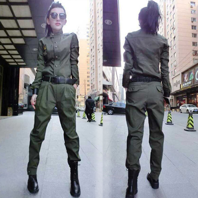 2 pièce set femmes Costume femme 2019 Femmes Printemps Automne Camouflage Costumes Casual Armée Vert Plus Taille Jogger Pantalon Mince fit suit