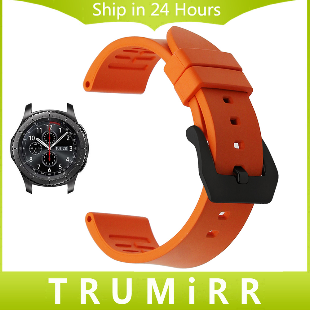 Fluoro Rubber Watchband 22mm +Tool for Samsung Gear S3 Classic Frontier Gear 2 Neo Live Moto 360 46mm Men Watch Band Wrist Strap 22mm sports silicone strap for samsung gear s3 frontier band for gear s3 classic rubber watchband replacement wristband