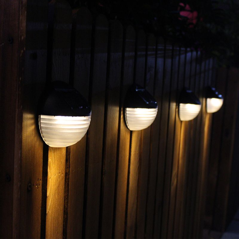 LED Solar Power Wall Garden Lights Outdoor Fence Lamp Light White with 6LED