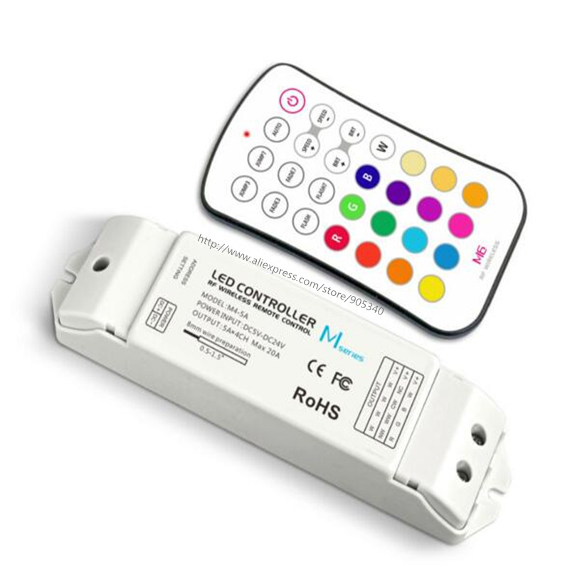 M6+M4-5A rgb led controller rf M6 touch remote with M4 5A CV Receiving controller,5A*4CH Max 20A output mini rgb led controller m3 m4 5a m3 touch rf remote with m4 5a cv receiver led dimmer controller dc5v dc24v input 5a 4ch max 20a output