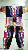 New African 100 Cotton Dashiki Dresses Suit T Shirt And Pants For African Traditional Clothing Bazin