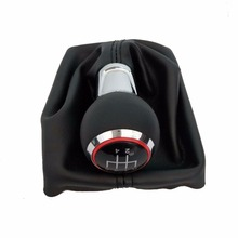 5 Gear 6 Speed Manual MT Car Shift Knob With Leather Red Caps For Audi A3 S3 8P S-line Sportback Styling