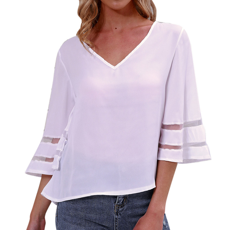 Fashion Elegant Ladies V Neck Three Quarter Flare Sleeve White Women Tops Spring Summer Wear T Shirt Women Female Tee