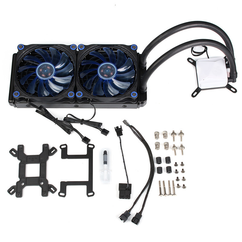 Computer CPU Fan Water Liquid Cooling System Mute Copper Aluminum Cooler Water Cooling Radiator Heat Sink Base For Intel/AMD aerocool 15 blade 1 56w mute model computer cpu cooling fan black 12 x 12cm 7v page 5