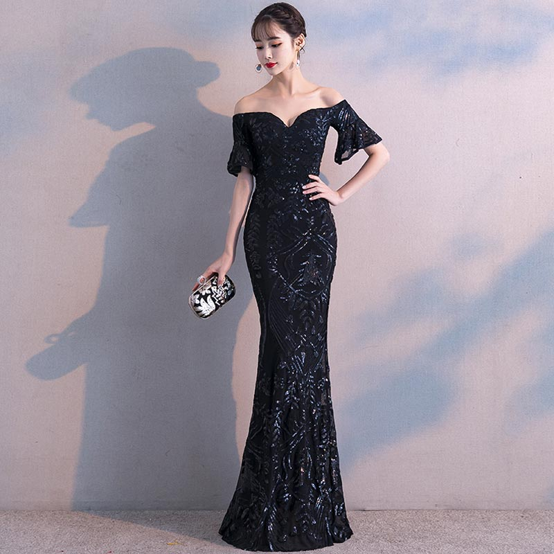 FADISTEE New arrival elegant party dresses evening dress Vestido de Festa luxury black sequins short sleeves prom lace style-in Evening Dresses from Weddings & Events    3