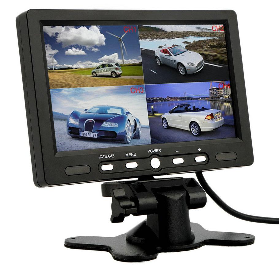 7 Inch 4 Split Quad TFT LCD Display DC 12V Car Rear View Headrest Monitor For DVD Reversing Camera hot selling 4 3 inch display tft color lcd monitor cctv camera monitor 2 av input 1 way for rear view