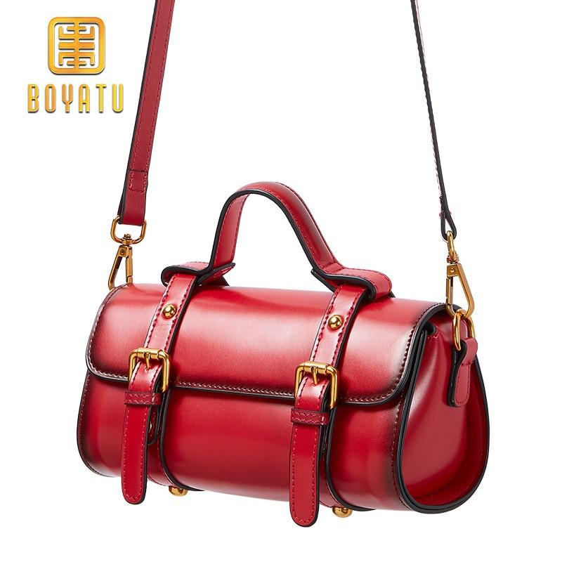 Genuine Leather Woman Bag Pillow Type Lady Shoulder Bag Shopping Trip Boston Bag oil wax cow leather handbag Top-Handle bag tote