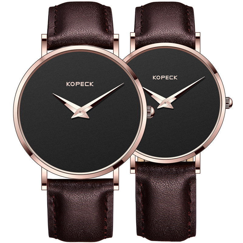 Simple Top Brand KOPECK 6mm Ultra Thin Dial Men Watch Lovers' Wristwatch Luxury Leather Strap Clock Elegant Women Couple Watches top brand luxury couple watches for lovers pair men and women leather strap quartz watch woman s man s ultra thin watch