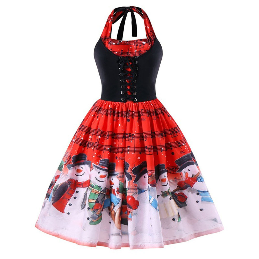 Feitong Women Sexy Christmas Dress Vintage Retro Ladies Music Notes Lace  Sleeveless Swing Party Mini Dress 78f40cfabbf1