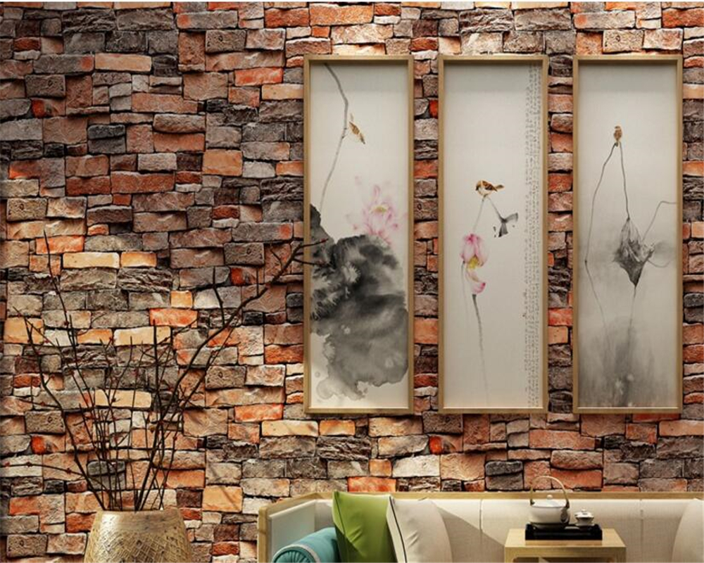 beibehang Brick pattern papel de parede living room wall 3d wallpaper waterproof pvc dimensional Chinese style retro wall paper beibehang papel de parede 3d dimensional relief korean garden flower bedroom wallpaper shop for living room backdrop wall paper