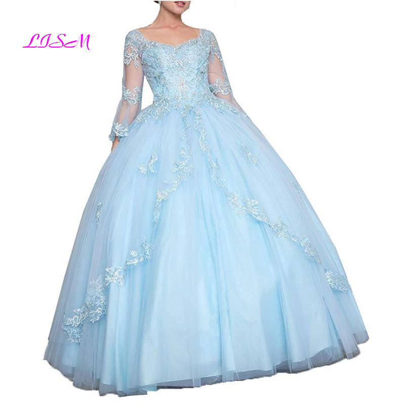 Long Sleeves Lace Tulle Quinceanera Dresses Appliques Corset Beaded Prom Ball Gowns Lovely Long Party Dress