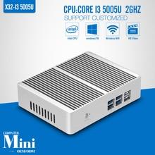 OEM/ODM Fan Mini pc de Doble núcleo I3 5005U X86 de doble core 6 * USB HDMI + VGA DDR3 4G RAM 500G HDD + WIFI Mini pc ventanas