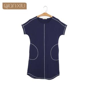 Image 4 - Time limited Pockets Gecelik Qianxiu Cotton Nightgown For Women Knee length Short Sleepwear Summer Casual Nightdress 1656