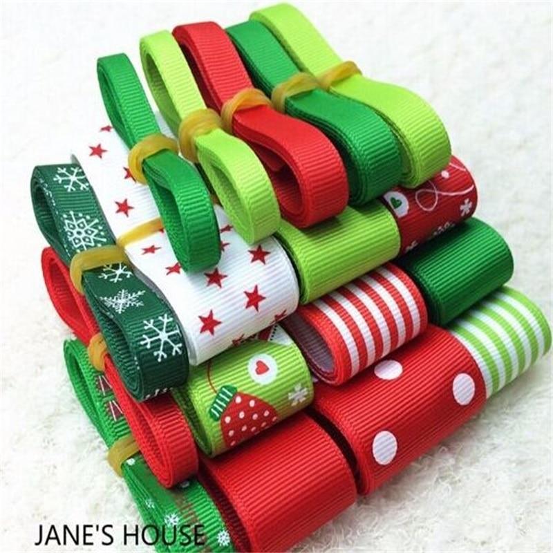 Лидер продаж Рождество стиль смешивания печатных Grosgrain ленты Комплект Бесплатная доставка 23 метр ленты
