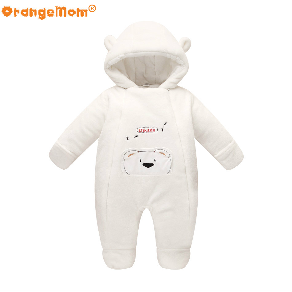 ФОТО New fashion 2017 Newborn winter outerwear baby rompers coral fleece cotton padded infant baby girl clothes thickening jumpsuits