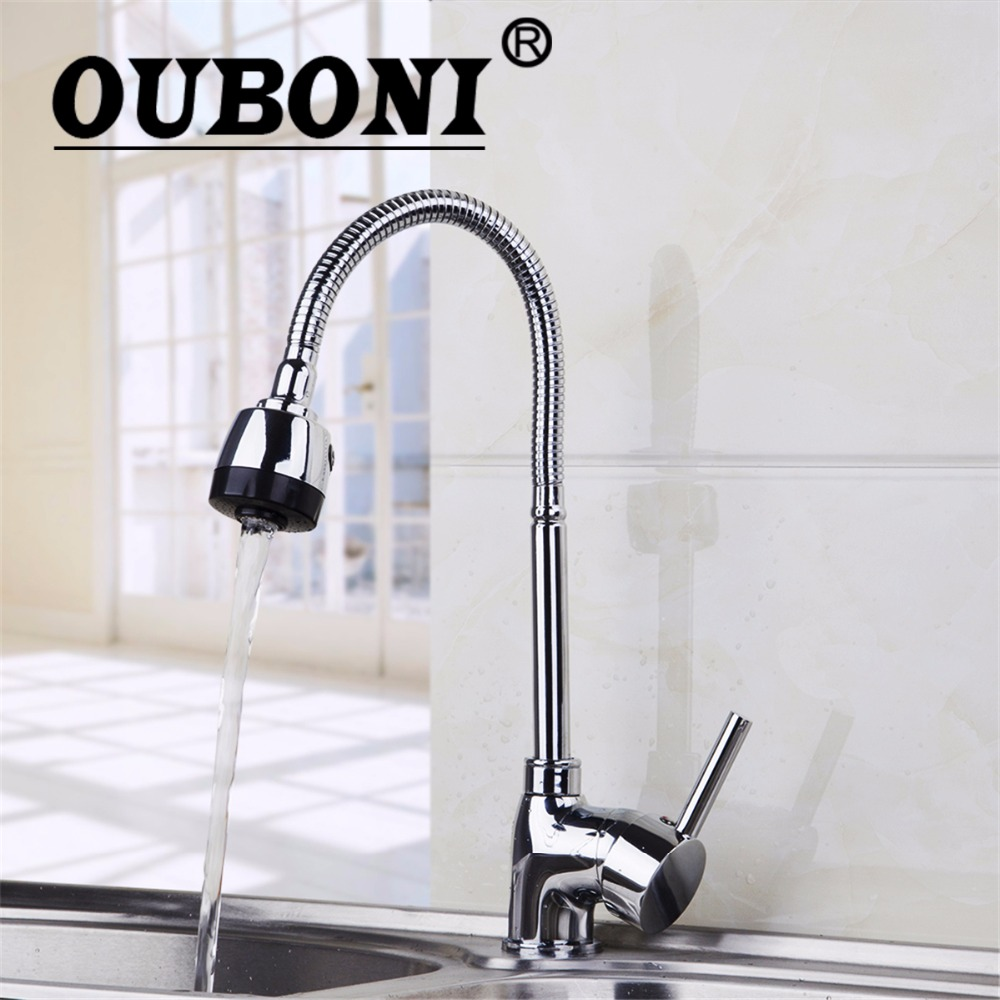 OUBONI Chrome Polish Swivel Kitchen Faucet Modern Mixer Tap Rotated Stream Stainless Steel Tap Kitchen Mixer Faucet ouboni modern rainfall