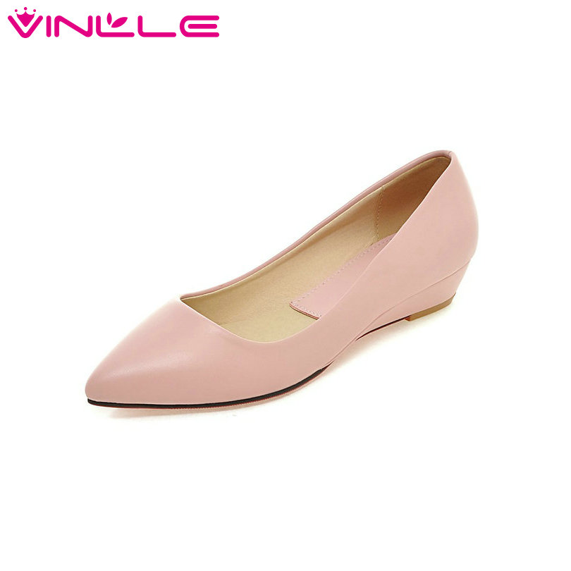 big size 11 12 candy color  Pink Slip On Women Pumps Wedges Heels Pointed Toe Pu Soft Leather Autumn/Spring Girl Office Shoes women shoes pumps spring 2017 thick low heels autumn elegant slip on pointed toe casual shoes ladies office wear big size 41 42