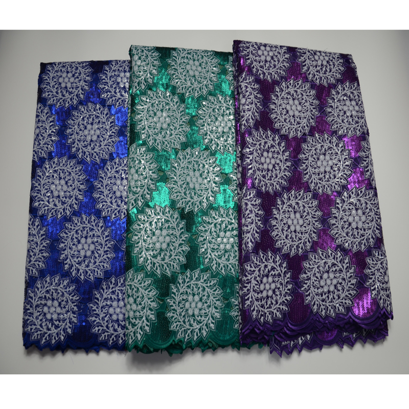 5yards pc high quality African handcut organza lace fabric in purple with shining sequins embroidery