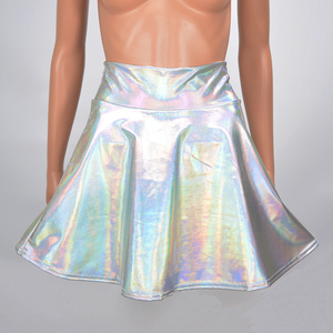 Image 5 - Womens Shiny Mini Skirt 2019 Metallic Wet Liquid Faux Leather Look Flared Pleated A Line Circle Solid Skater Skirts 7 Colors