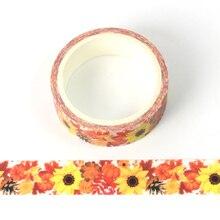 1pcs Creative Sunflower Washi Tape Adhesive Paper Tape School Office Supplies DIY Scrapbooking Decorative Sticker Tape 5m цена