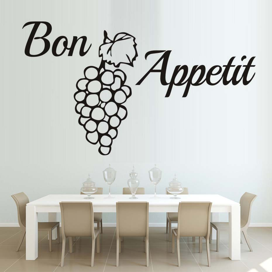 French Word Bon Appetit Wall Decal Grape Quotes Wallpaper PVC Wall Sticker Kitchen Dining Room Removable Wall Art 3D Home Decor