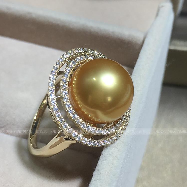 Mariage femmes cadeau mot 925 Sterling réel l'importation de Nanyang Kim eau de mer perle anneau carat luxe rond impeccable li