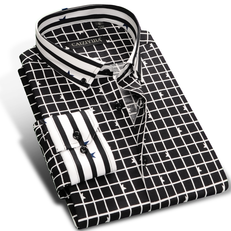 Caiziyijia 2017 mens black white black white contrast for Mens black plaid dress shirt