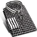 Caiziyijia 2017 mens preto/branco contraste xadrez casual vestido camisa manga comprida slim-fit pentagrama botão de impressão para baixo camisas de algodão