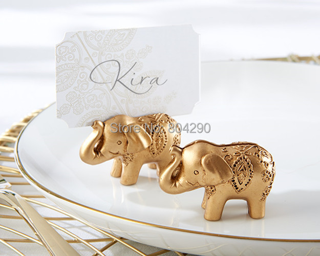 24 Pcs Free Shipping Lucky Golden Elephant Place Card Holders Indian