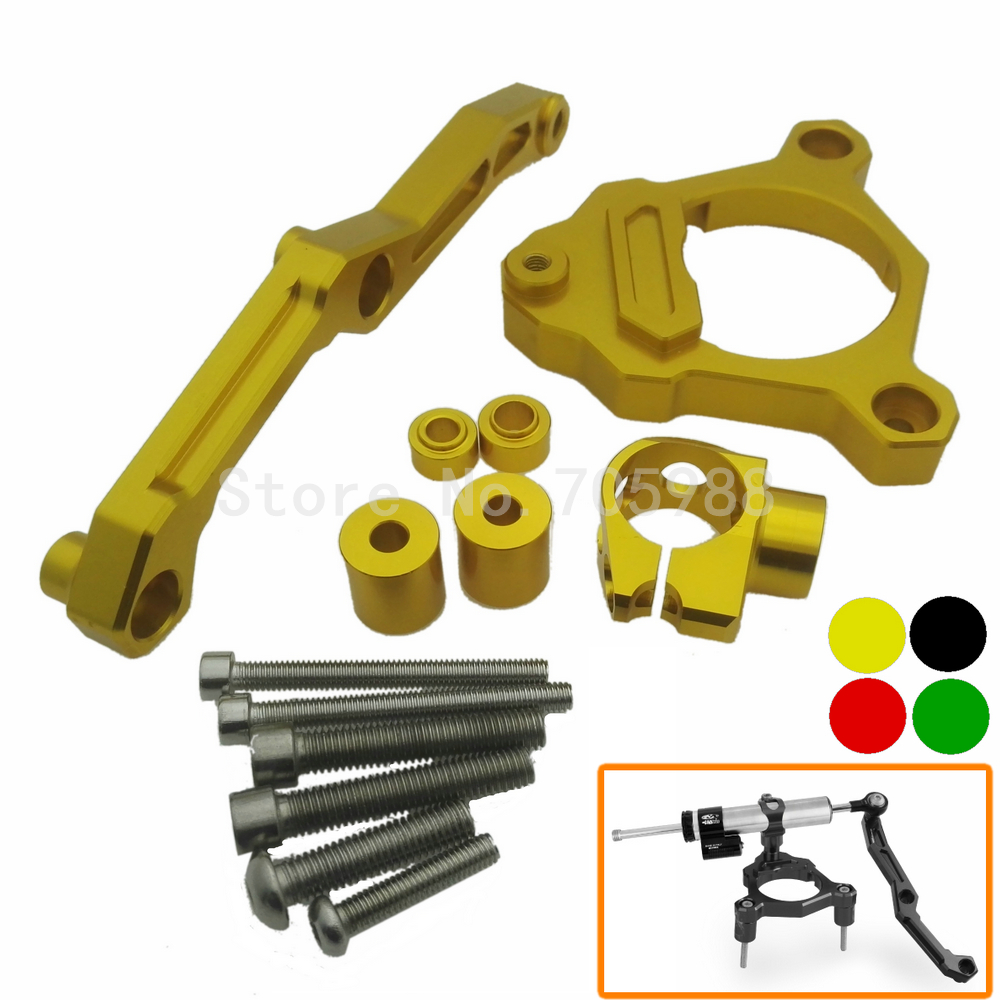 Motorcycle Steering Damper Stabilizer Bracket Mounting Support Kits Fit For KAWASAKI Z800 2013-2015 2013 2014 2015 Gold Colors  fxcnc aluminum steering damper stabilizer bracket mounting support kits fit for honda cbr600 f4i 1999 2004