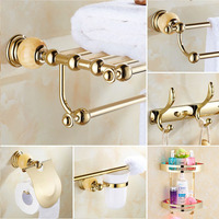 European style Gold Towel Rack Jade Base Bathroom Accessories Set Bathroom Hardware Jade Towel Racks YM0