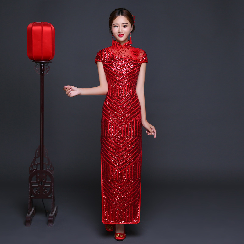 6abddbf52e39 Kina Klänning Traditionell Röd Sequined Brud Bröllop Cheongsam Lång ...