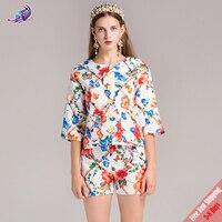 2018 лето взлетно посадочной полосы дизайнер костюм комплект Для женщин элегантный цветок печатных Однобортный пальто и Короткие шорты набо