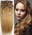 """O envio gratuito de mais grossa de 18 """"-28"""" 12 pcs cabelo set 100% clips em/on remy extensões de cabelo humano #16 loiro dourado 260g todas as cores em estoque"""