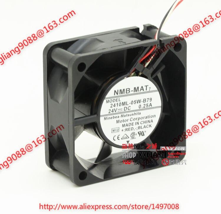 NMB 2410ML-05W-B79, M12 DC 24V 0.25A, 60x60x25mm 3-wire 80mm Server Square cooling fan