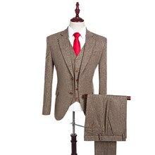 Latest Coat Pant Designs Brown Notch Lapel Men Suit Tailor Made Groom Tuxedos Wedding Suits Best Man Blazer (Jacket+Pants+Vest)