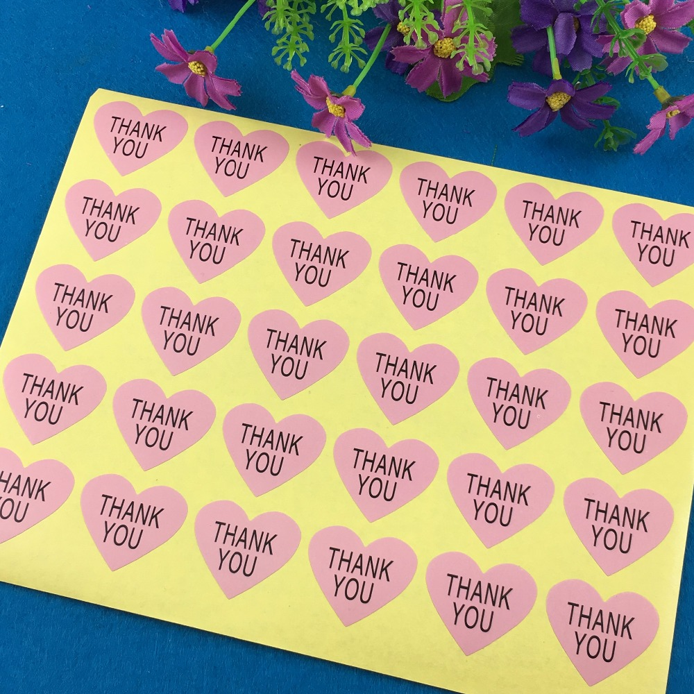 ᗑ5000 unids Gracias Rosa corazón etiqueta personalizar Diseño ...