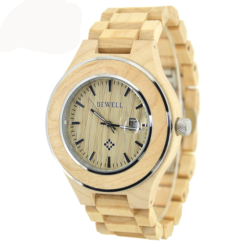 BEWELL Wood Roman Numeral Watch Men Waterproof Quartz Wristwatch Calendar Display Luminous Pointers for Your Friend Gift 100AG skone 5051 luminous pointers quartz watch men rotatable bezel wristwatch