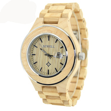 BEWELL Wood Roman Numeral Watch Men Waterproof Quartz Wristwatch Calendar Display Luminous Pointers Relogio Masculino 100AG  цена в Москве и Питере