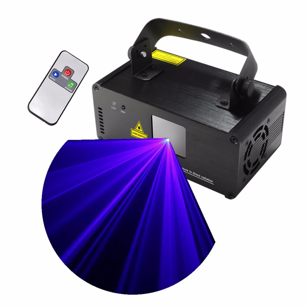 AUCD Mini IR Remote 8 CH DMX512 450mW Blue Laser DPSS Stage Lighting Scanner DJ Party Disco Show Projector Lights DM-B450 ...