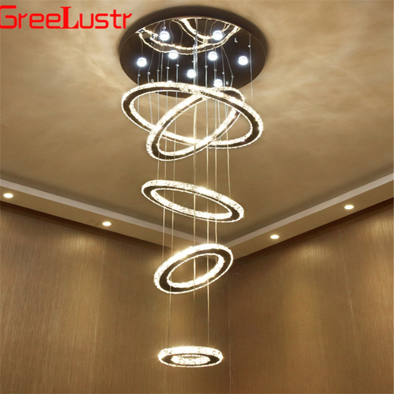 Luxury Large 5 Rings Round Crystal Led Chandelier Light Spiral Led Pendant Lamp Light Fixtures Stair Hotel Lamp Dimmable Lustres